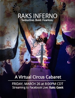 Show poster: Raks Inferno: A Virtual Circus Cabaret - tattoed back of a performer with giant fan veils and fire projection